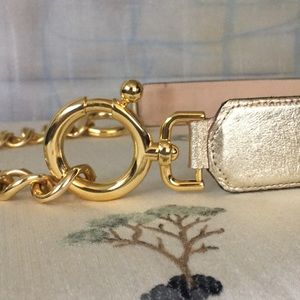 Gold Tone Chains With Gold lamé on Leather Belt